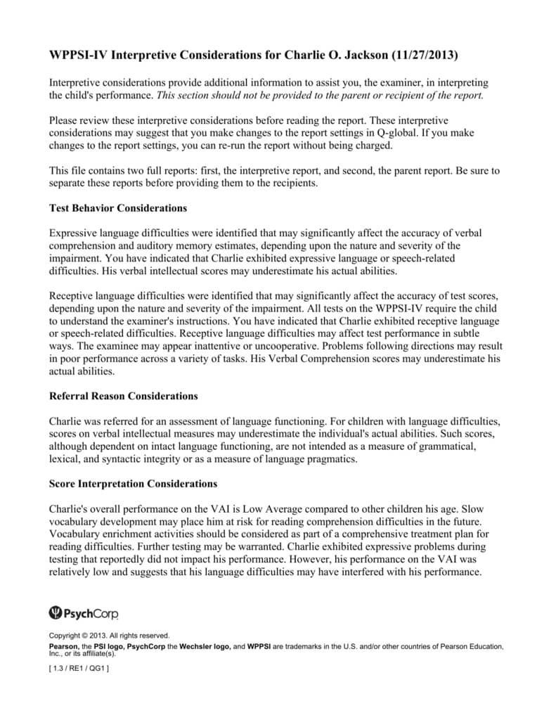 Wppsi Iv Interpretive Report Sample Regarding Wppsi Iv Report Template