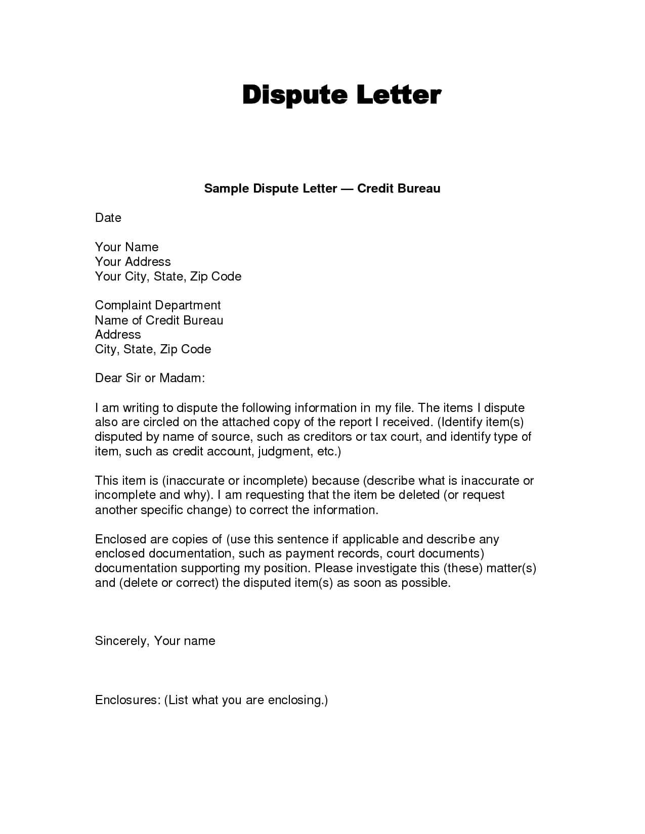 Writing Dispute Letter Format | Credit Bureaus, Lettering Throughout Credit Report Dispute Letter Template