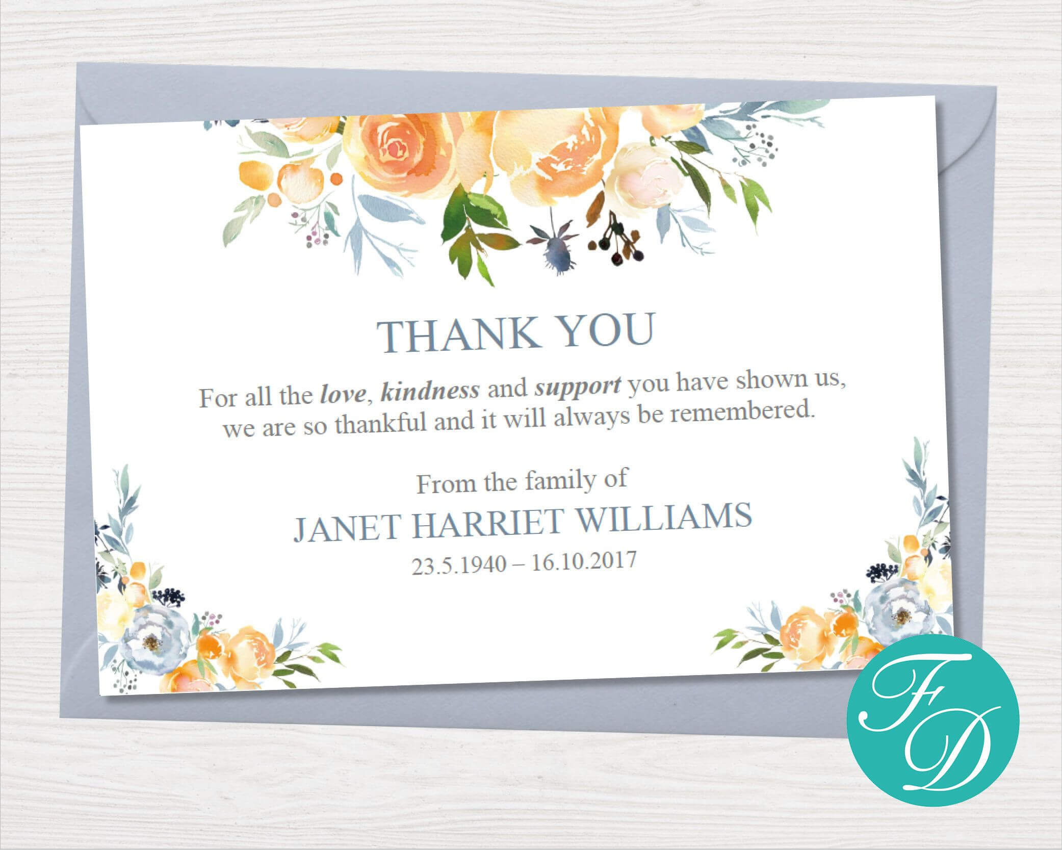Yellow Rose Funeral Thank You Notes – Funeral Template Intended For Microsoft Word Note Card Template
