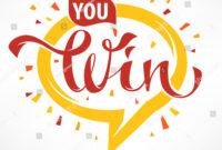 You Win Vector Congratulation Banner Template Stock Vector regarding Congratulations Banner Template