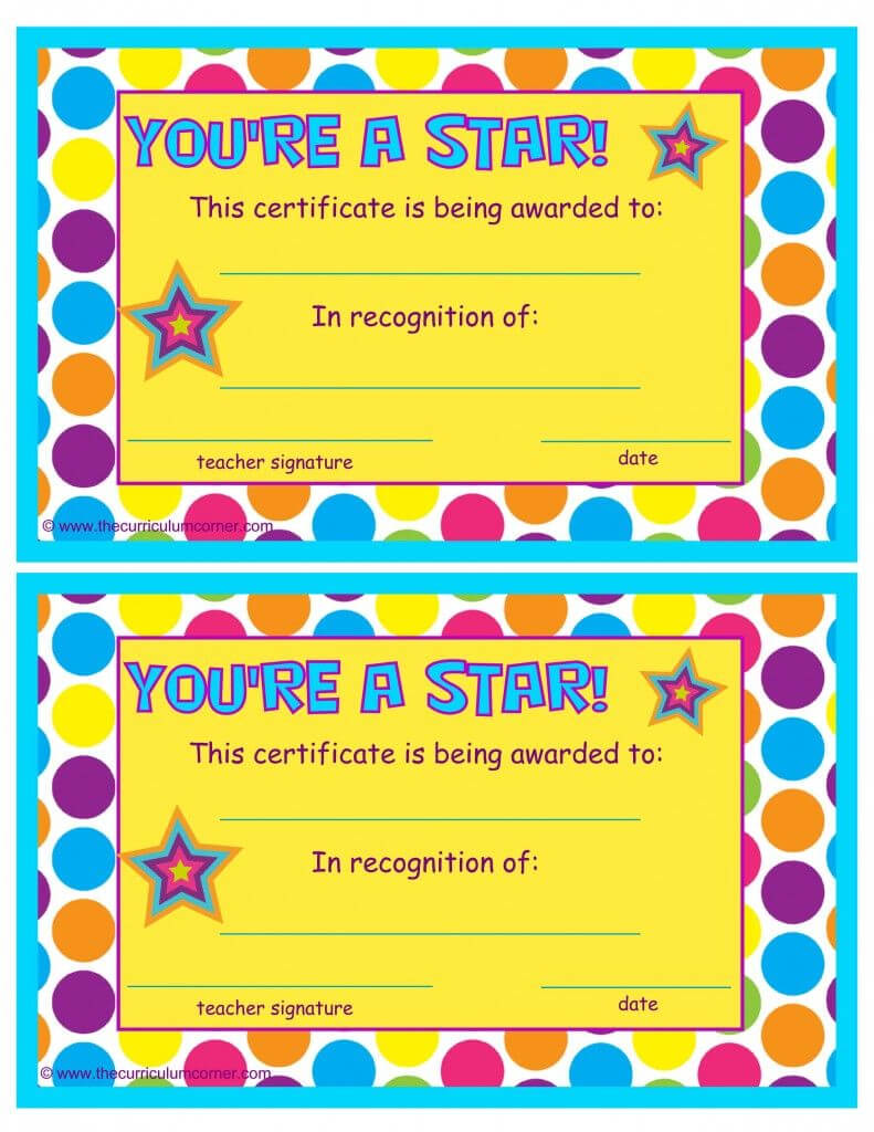 You're A Star End Of The Year Certificates | Star Students With Star Award Certificate Template